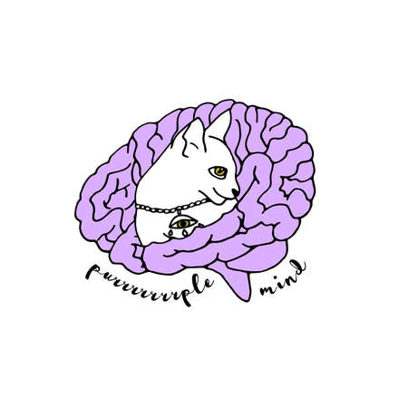 Boho spiritual hand drawn black ink line art. Cat inside a brain and a text purple mind. Bohemian Moonchild Aesthetics. Isolated on white 向量圖像