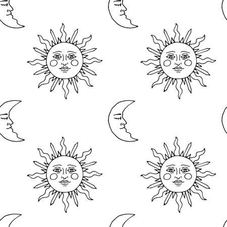 Monochrome seamless pattern with hand drawn suns and crescents on white background. Vector 向量圖像