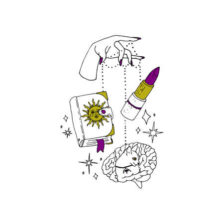 Boho spiritual hand drawn black ink line art. Woman hand with purple nails is holding grimoire book, lipstick and a brain with a cat figure on strings.