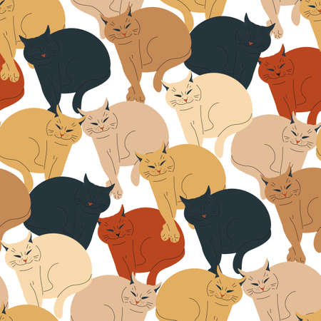 Seamless pattern with earthy color smiling cats.