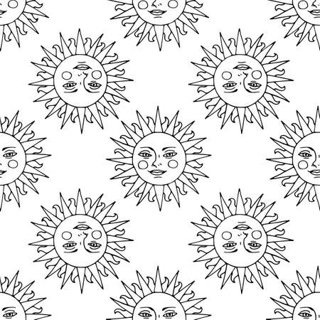 Monochrome seamless pattern with hand drawn sunshine on white background. Vector 向量圖像