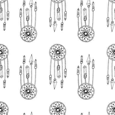 Monochrome seamless pattern with hand drawn dreamcatchers on white background. Vector