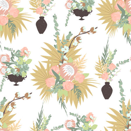 Floral boho seamless pattern with tropical flowers, leaves and bouquets in vases. On white background. Stock vector illustration.