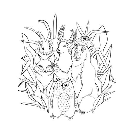 Kids coloring page with cute woodland animals, fox, deer, owl, bunny, bear. Isolated on white background. Line art style vector illustration.