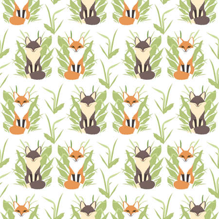 Seamless pattern with hand drawn cute flat boho red foxes and plants in neutral colors