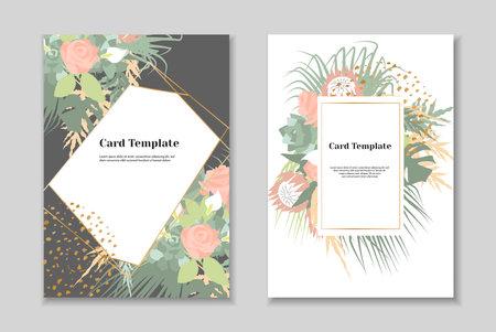 Set of 2 boho greting card templates, tender pastel colorls, white background. Golden geometrical frame.