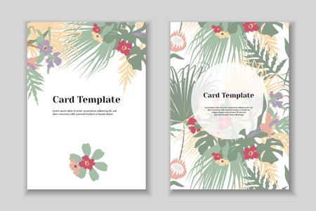 Set of 2 boho greting card template, tender pastel colorls, white background.