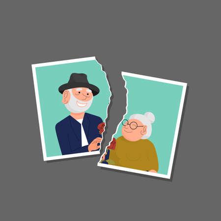 Torn photo of elderly couple template. Divorce, break up, end of relationship concept