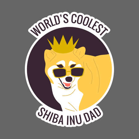 Worlds coolest shiba inu dad text. Japanese dog in golden crown and cool sunglasses.