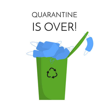Trash can is full of disposable blue face masks. Text Quarantine is over  イラスト・ベクター素材
