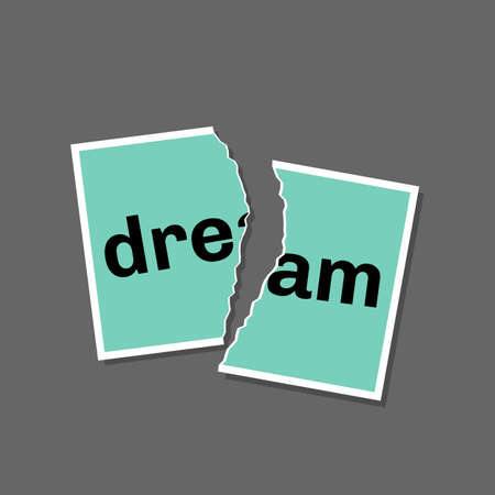 Torn photo with word dream template. Broken dreams and goals concept