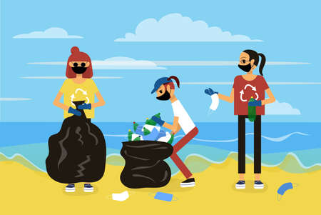 Three friend are cleaning up the beach from plastic waste on sunny day