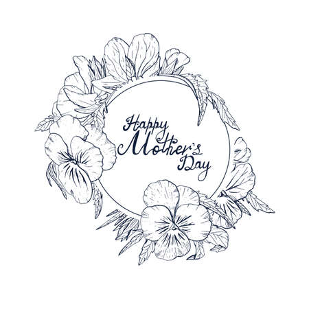 Monochrome Hand lettering text Happy Mothers day decorated with line art vintage pansy flowers