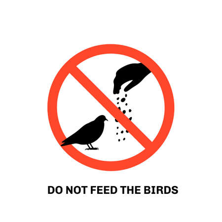 Prohibition sign with text do not feed the birds and hand silhouette giving food to pigeon  イラスト・ベクター素材