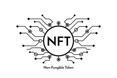 Black micro chip sign with text NFT non fungible token, cryptocurrency banner