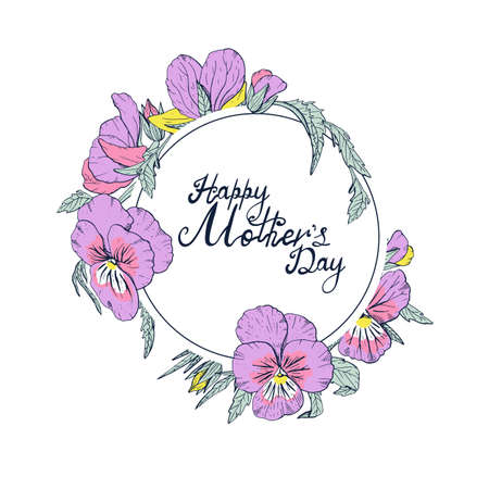 Hand lettering text Happy Mothers day decorated with colorful line art vintage pansy flowers, floral greeting card or poster template.