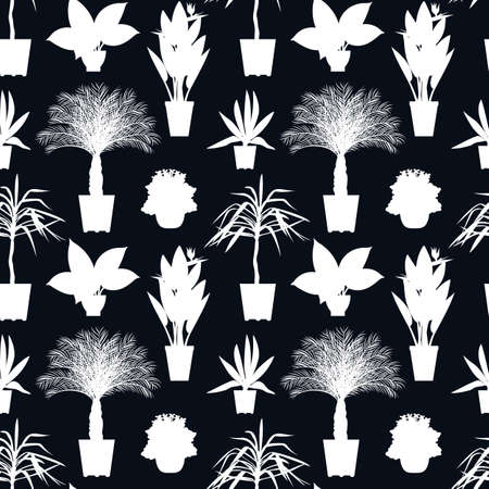 Seamless pattern with white potted tropical house plants silhouettes  イラスト・ベクター素材