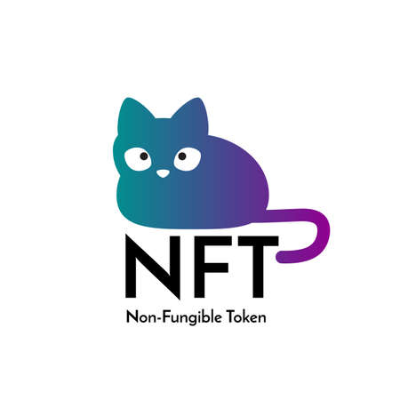 Cute cat and text non fungible token NFT. Isolated on white background.