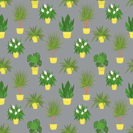 Seamless pattern with potted tropical house plants in yellow flower pots. On a gray background  イラスト・ベクター素材