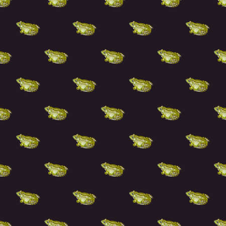 Seamless pattern with photo of green frog on a dark background