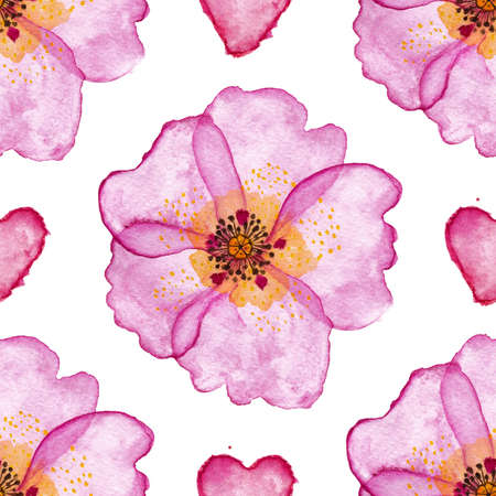 Colorful floral Seamless pattern with hand drawn watercolor dog rose flowers on white background. Stock illustration