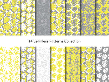 14 seamless patterns set with monstera leaves, gray and yellow simple tropical botanical textures.  イラスト・ベクター素材