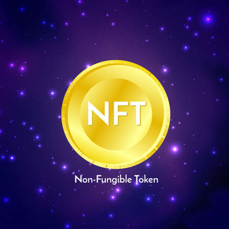 Golden coin with nft non fungible token text on futuristic neon purple background, cryptocurrency banner.