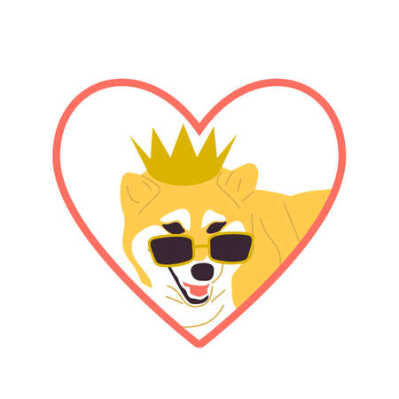 Japanese dog in golden crown and cool pink sunglasses. Heart shaped Sticker design with pink outline