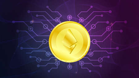 Ethereum sign on golden coin futuristic neon purple background