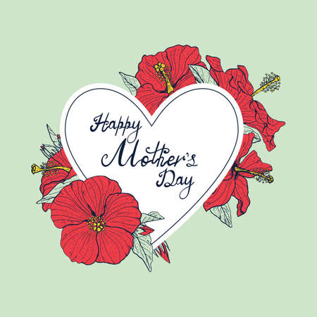 Hand lettering text Happy Mothers day decorated with line art vintage hibiscus flowers