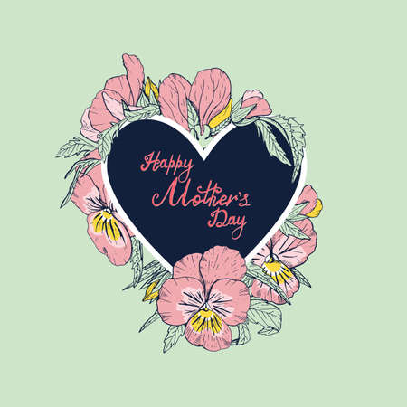 Hand lettering text Happy Mothers day decorated with line art vintage pansy flowers