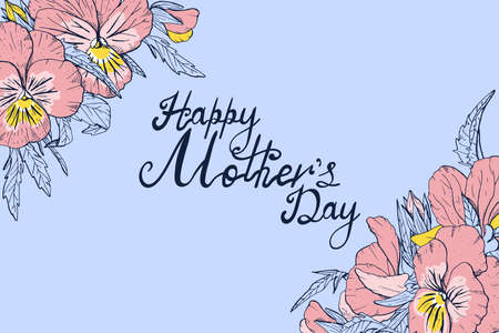 Hand lettering text Happy Mothers day decorated with line art vintage pansy flowers, floral horizontal greeting card or poster template  イラスト・ベクター素材