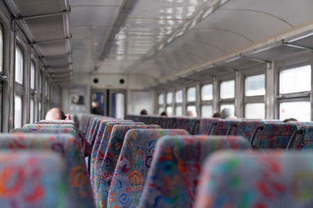 Latvia - 03.16.2020: interior view of train in Latvia 報道画像