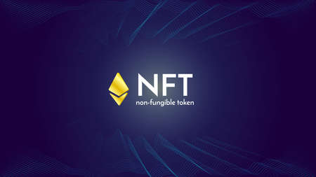 Ethereum golden sign on futuristic neon purple background, text NFT non fungible token, cryptocurrency banner.