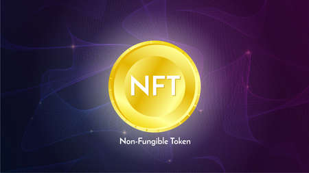 Golden coin with nft non fungible token text on futuristic neon purple background, cryptocurrency banner