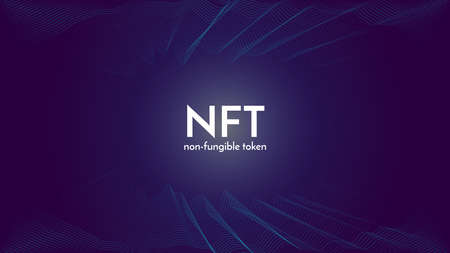 Nft non fungible token white text on futuristic neon purple background, cryptocurrency banner