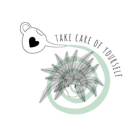 Minimalist boho illustration of quote Take Care of Yourself with black line art potted house plant fern and abstract shapes background