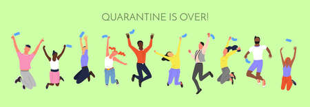 Crowd of young happy smiling multinational diverse people in jumping poses throwing up face masks. With text quarantine is over.