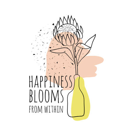 Minimalist boho illustration of quote happiness blooms from within with black line art protea flower in vase and abstract shapes textured background.