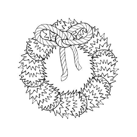 Monochrome Line Art Christmas Wreath clipart, decorated spruce green branches.
