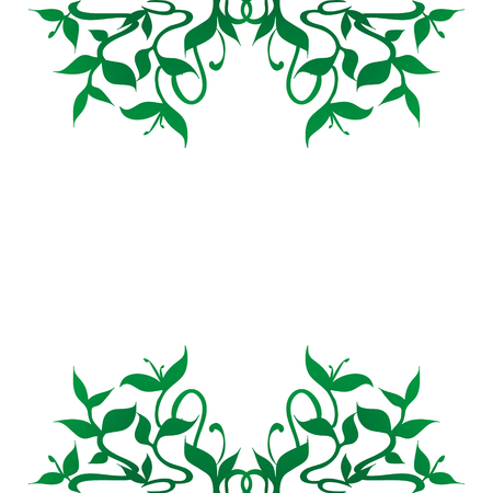 herbalist: A stylized green plant sprouts and buds decoration for frame borders and backgrounds; flourishing curved leaves and stems. Floral pattern. Isolated illustration on white background.