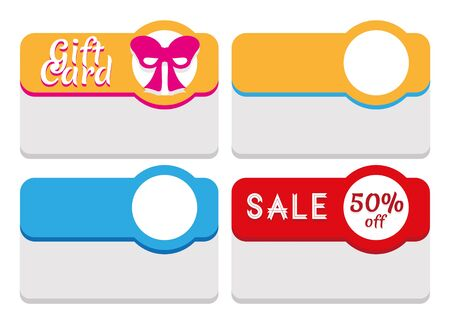 circl: Labels, tags, coupons or business cards template. Possible uses examples: to create a gift card for a shop  service (the example features a stylized fuchsia ribbon); to point out sales offers or items on sale (the example states 50% off). The white circl