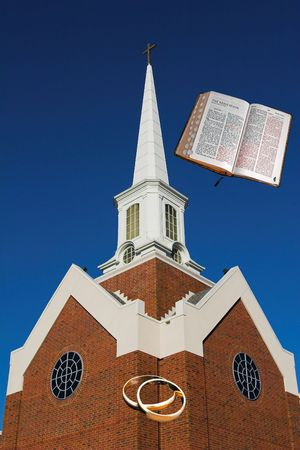 marrage: God is over the church, the church is over the marrage Stock Photo