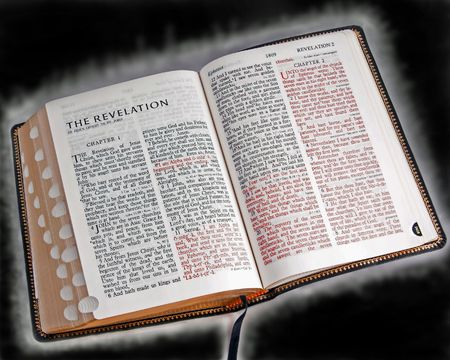 repent: glowing open bible Stock Photo