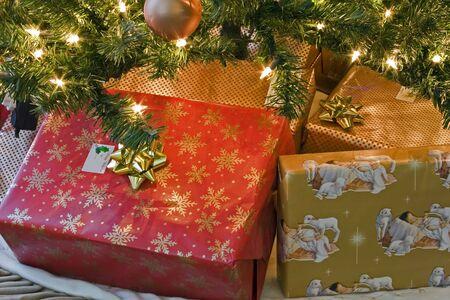 under the tree: �rbol de Navidad en el hogar c�lido, de luces, se presenta bajo un �rbol  Foto de archivo