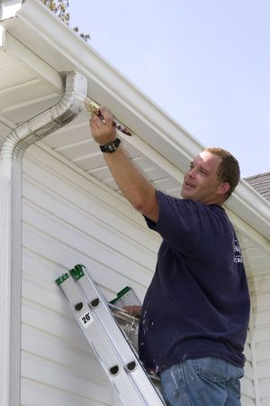Local contractor painting outside of house, business is booming in summer months Stockfoto