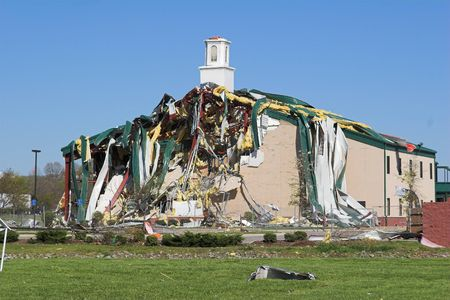 Church in Goodlettsville, TN was destroyed by tornado, area has heavy damage from storms, steel beams bent like rubber