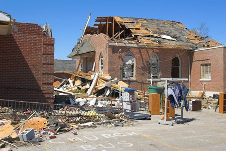 damaged roof: Church destoryed,Cold front bringing tornadoes & straight line winds to Tenessee & Kentucky ,Christian Co. Declared State of Emergency in kentucky,In Tennesse A powerful F3 tornado in Dyer Country killed 15 people during the night. Gov. Phil Bredesen, D-T