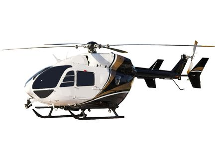 Helicopter that is isolated with white background Stock Photo
