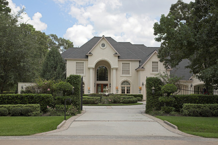 suburban home: New million dollar homes in affluent neighborhood, sales are steady Stock Photo